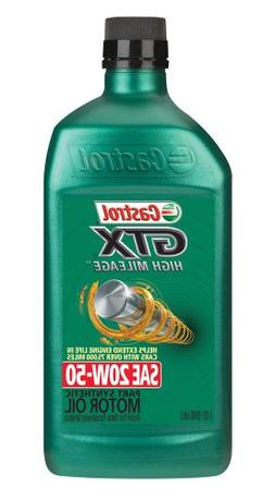 Castrol 06470 GTX High Mileage 20W-50 Synthetic Blend Motor