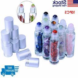 10PCS Natural Gemstone Essential Oil Roller Ball Bottles wit