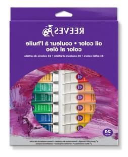 Reeves 24-Tubes Oil Color Tube Set, 10ml