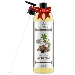Castor Oil - 16 oz bottle with Premium Pump - Many Benefits