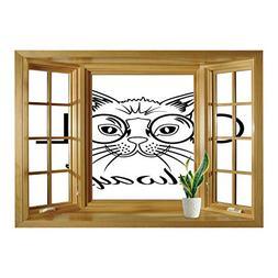 SCOCICI Creative Window View Home Decor/Wall Décor-Cat,Cool