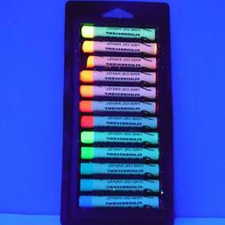 OIL PASTEL 12 UV BLACK LIGHT NEON ART GRAFFITI SCHOOL FREE K