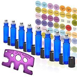 8 Glass Stainless Steel Roller Bottles 8 Pack Cobalt Blue 10