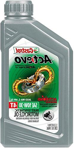 Castrol 06119 ACTEVO 4T 10W-30 Part Synthetic Motorcycle Oil