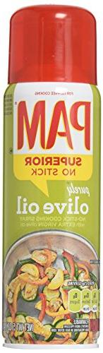 Pam No-Stick Cooking Spray - Purely Olive Oil - Superior No