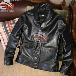 Leather Jacket Italy Oil Wax Hand Made Shawl Collar Mens Cow