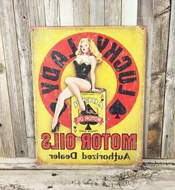 Lucky Lady Motor Oils Gasoline Gas Metal Tin Sign Vintage Ga