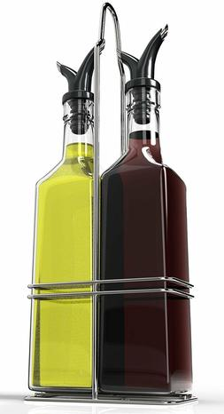 Royal Oil and Vinegar Bottle Set with Stainless Steel Rack w