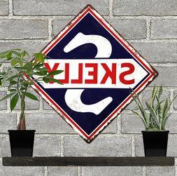 SKELLY Motor Oil Metal Sign Repro Gas Pump Garage Mechanic S