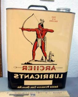 Unused Vintage Archer Oil / Lubricants 2 gallon tin NEW! wit